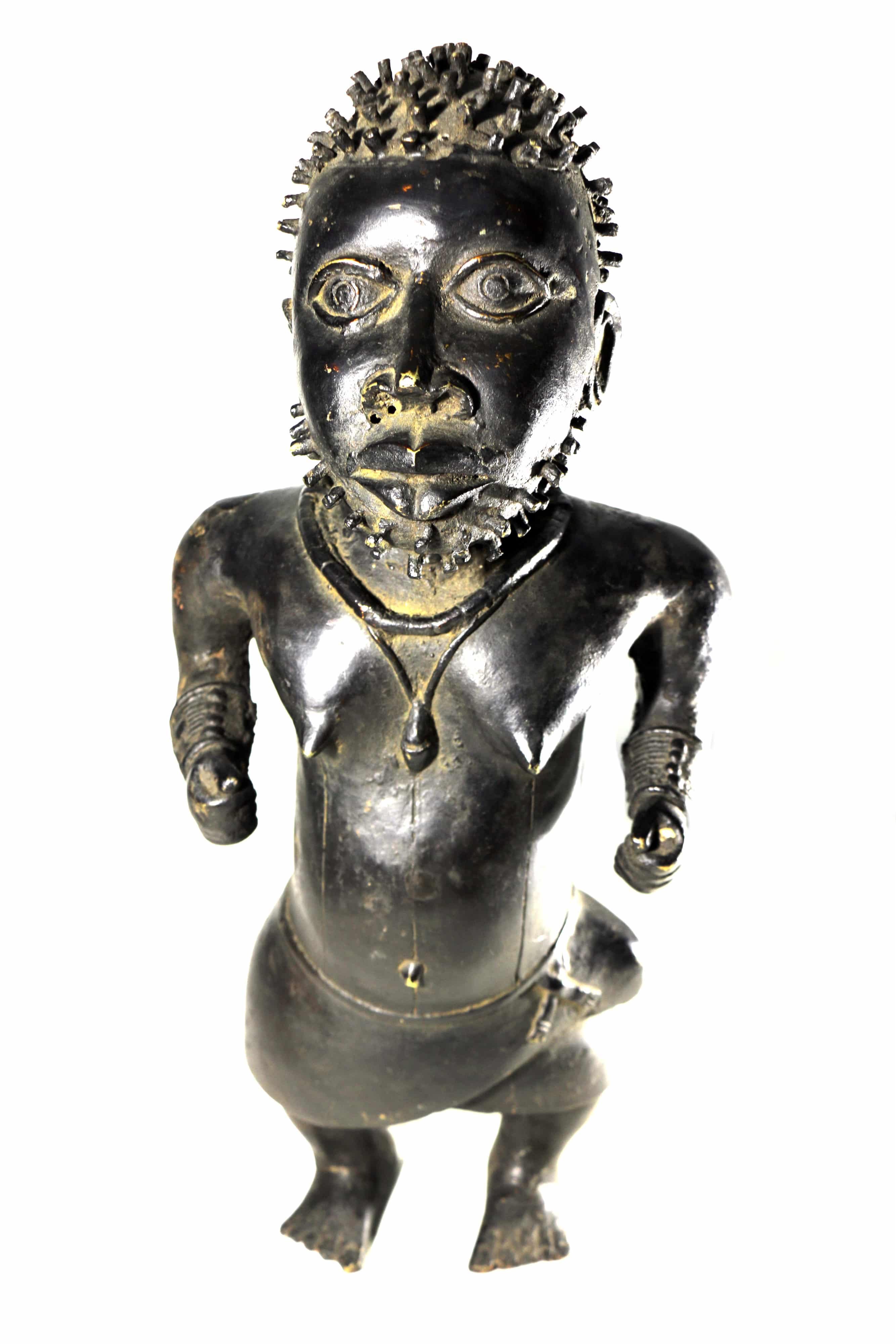 Benin and Nigeria Authentic 19th C Yorubaland West Africa African Yoruba Brass Female figure 19th C